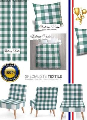 https rideauvoile com products carreaux vichy tissu au metre motifs bleu vert blanc rideau couette coussin