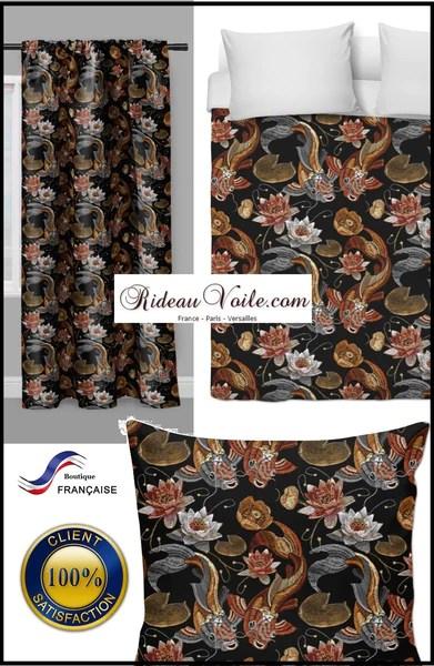 tissu au metre decoration motif imprime poisson japonais carpe koi rideau couette