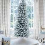9 Foot King Flock Slim Artificial Christmas Tree Unlit King Of Christmas