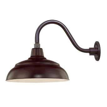 millennium lighting 14 warehouse shade with selected goose neck mount and wire guard available in bronze galvanized black red green and white