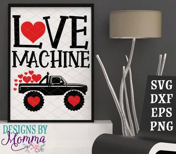 Download Love Machine Valentine's Day Monster Truck SVG DXF EPS PNG ...