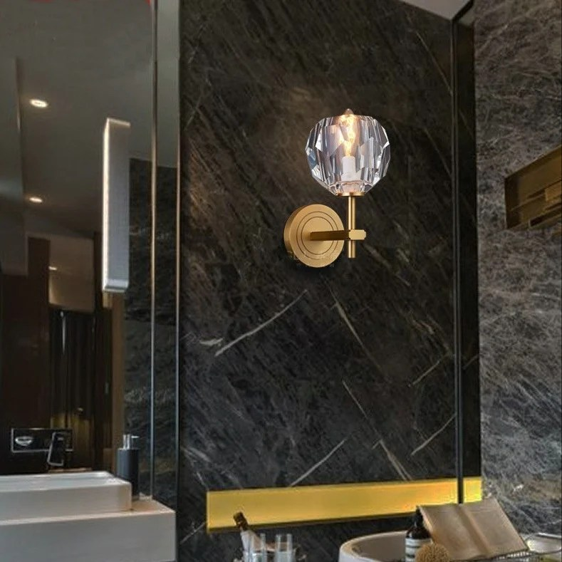 Crystal Solid Brass Sconce Wall Lights Bathroom Lights ... on Crystal Bathroom Sconces id=19325