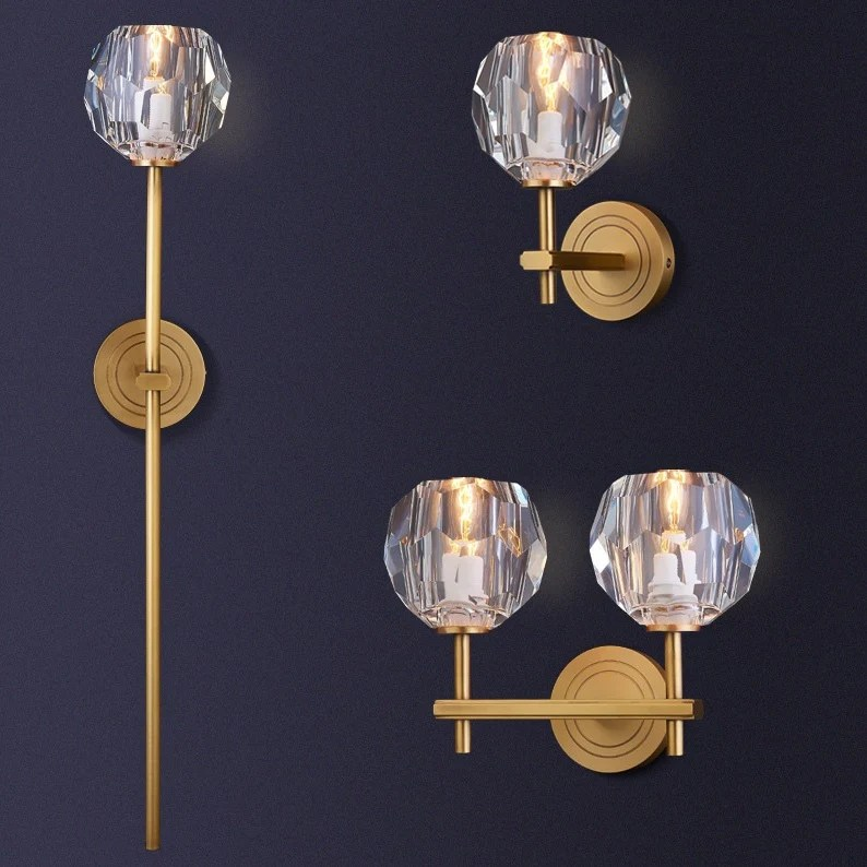 Crystal Solid Brass Sconce Wall Lights Bathroom Lights ... on Bathroom Wall Sconce Lighting id=42395
