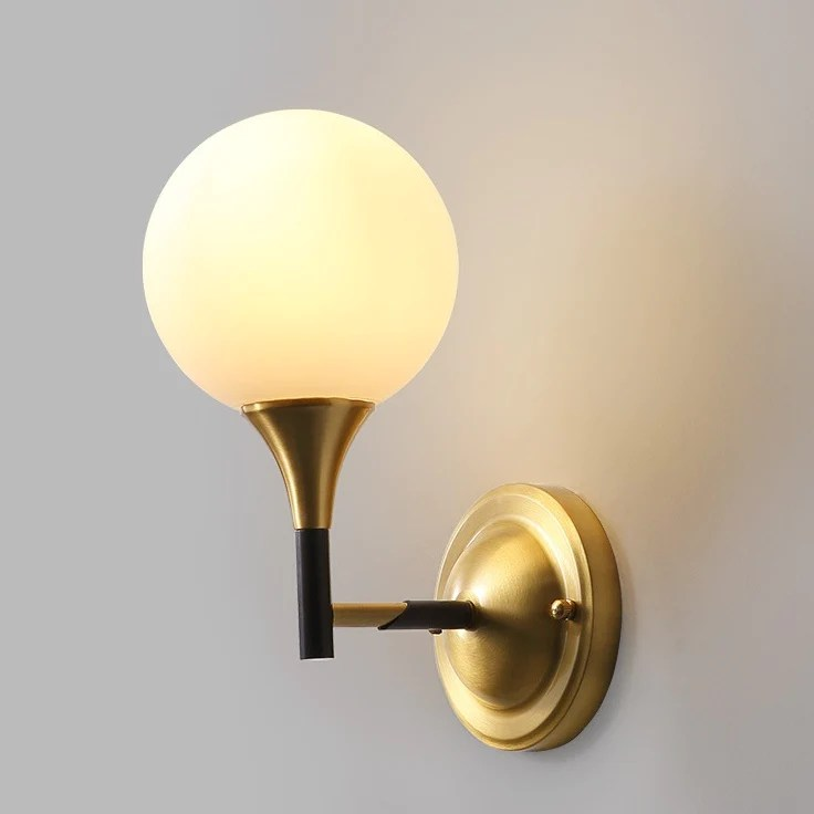 Glass ball Solid Brass Sconce Wall Lights Bathroom Lights ... on Bathroom Wall Sconce Lighting id=13384