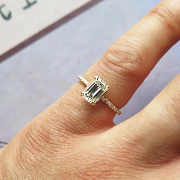 Alaia Emerald Cut Diamond Engagement Ring With Delicate