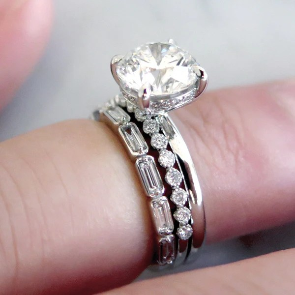 Fontaine Diamond Baguette Wedding Band In White Gold