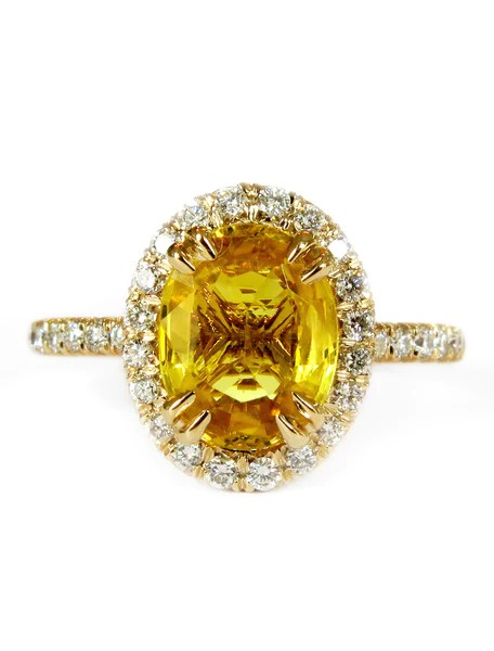 Gia Oval Yellow Sapphire Halo In Yellow Gold Dana Walden