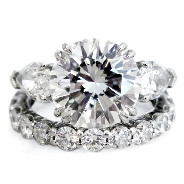 Portia 3 Stone Diamond Engagement Ring With Pear Side