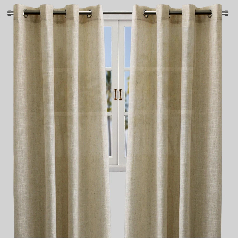 adrina set of 2 metallic linen look curtain panels size 54x96 color beige