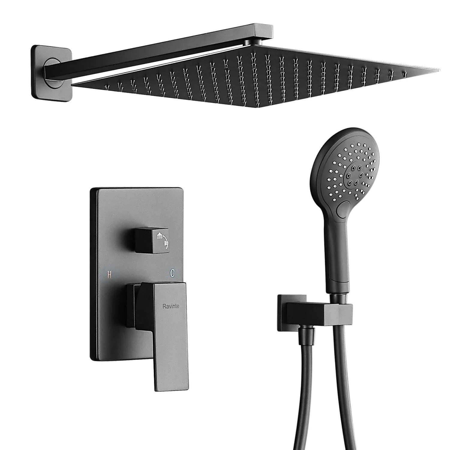 rain shower system modern shower faucet set with rough in valve 12 rainfall shower head and multi function hand held luxury shower combo set