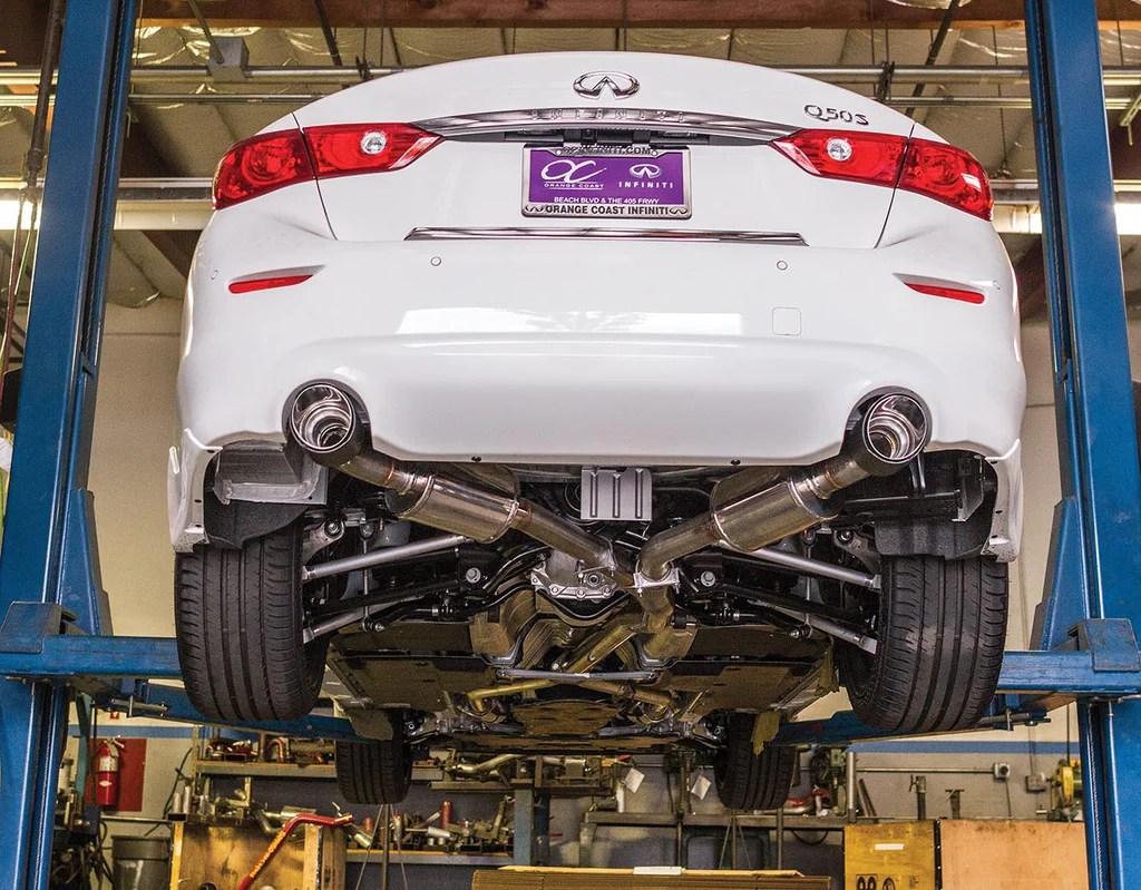 2016 19 infiniti q50 cat back exhaust carbon fiber tips