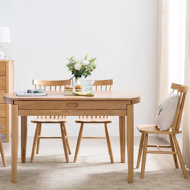 北歐伸縮餐桌實木折疊桌椅組合小戶型折疊圓形飯桌家用白橡木家具– LuxHKHome