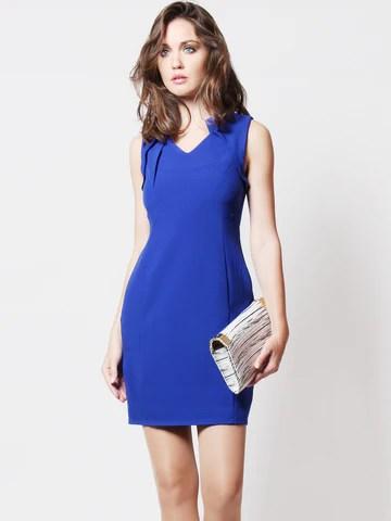 Faylene Pleated Neckline Dress Cobalt