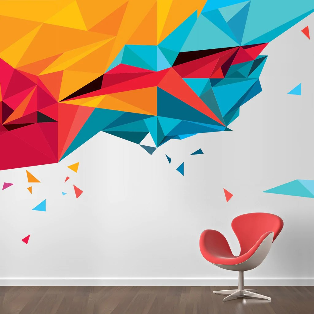 abstract triangles in by vinyl impression with images on wall stickers painting id=54847