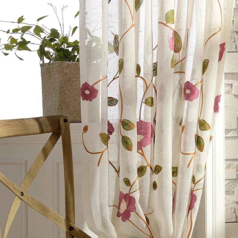 voilage broderie fleur rideaux fenetre decoration 140 x h260 cm chambre salon