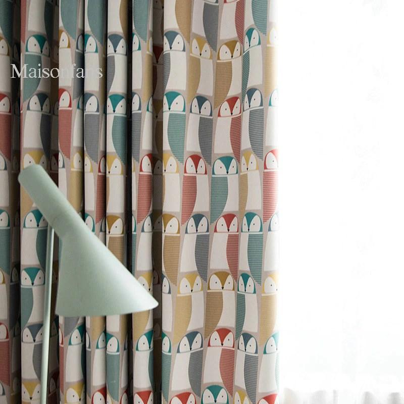 rideau hibou imprime a œillets occulant enfant 140x240cm chambre