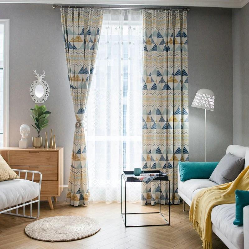 rideau tamisant 140 x 260 cm remix bleu et jaune moderne
