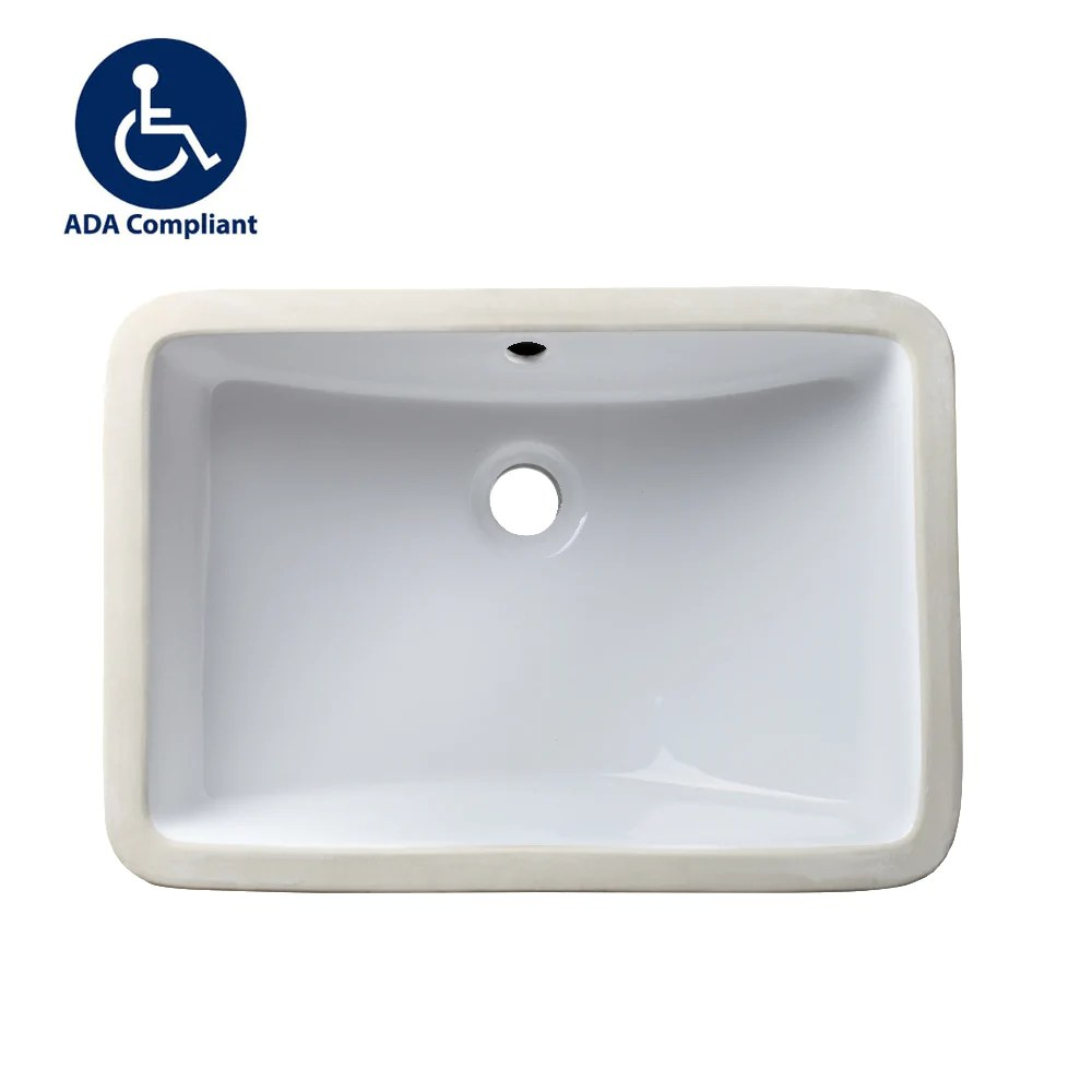 allora usa ada 1218 18 x 12 x 5 undermount rectangular bathroom sink with overflow white