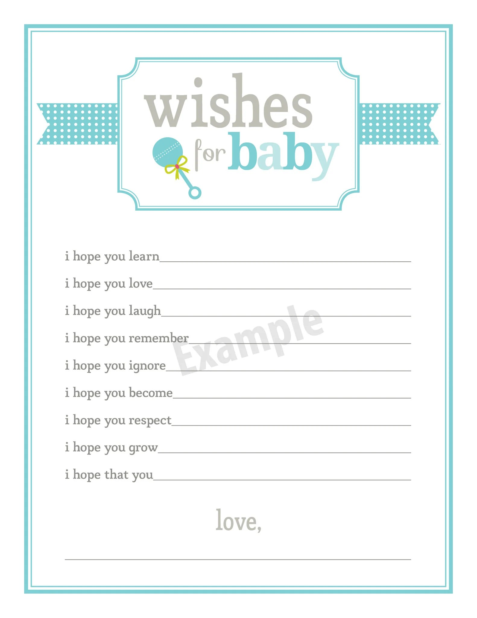 Printable Wishes For Baby Template Pictures To Pin