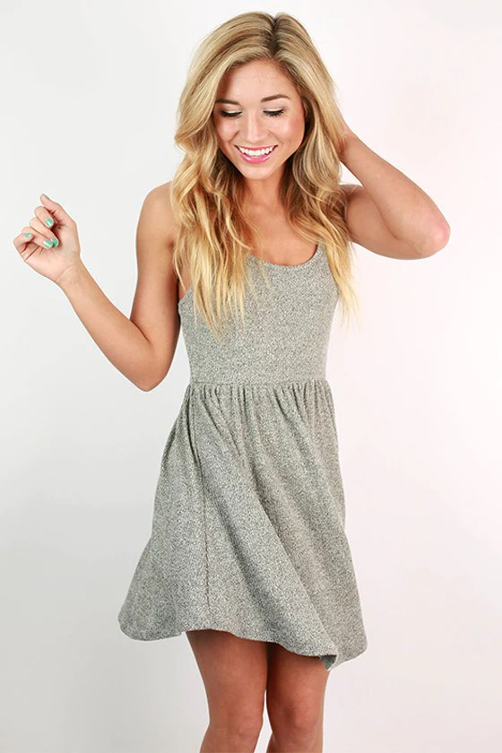 Pacific Beach Babydoll Dress In Grey Impressions Online
