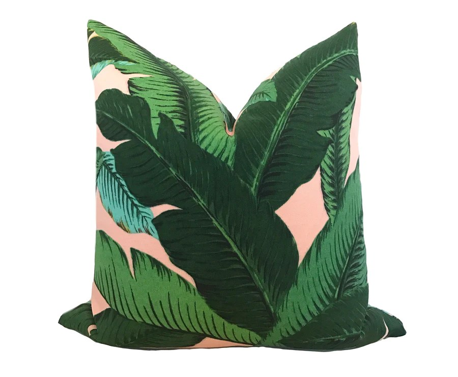 blush palm leaf pillow cover
