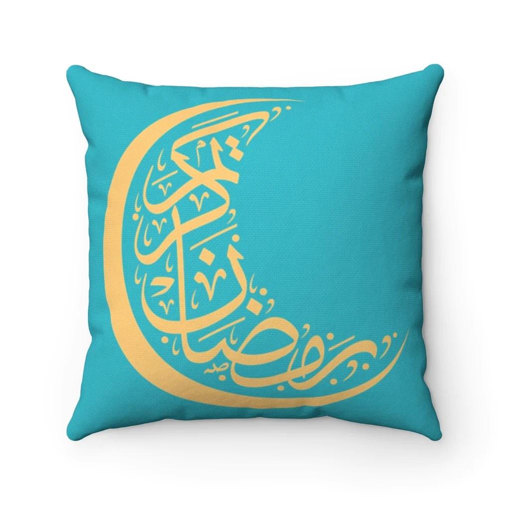 ramadan crescent turquoise pillow