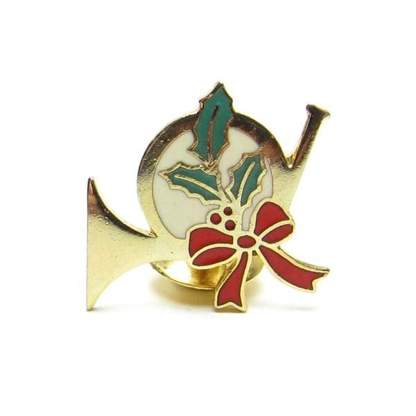 French Horn Christmas Hallmark Metal Tack Pin Brown Eyed