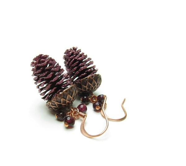 Garnet Pine Cone Earrings On Copper Ear Wires January