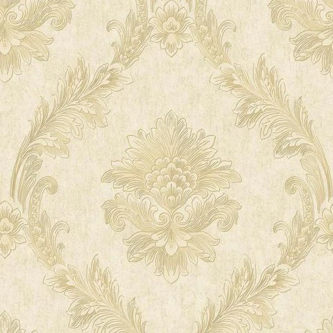 Elegant Gold Wallpaper Patterns   Designs   Burke D    cor     BURKE DECOR Acanthus Fan Wallpaper in Gold and Pearlescent Ivory by Antonina Vella for  York Wallcoverings