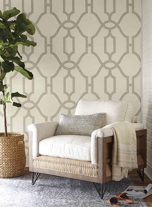 woven trellis wallpaper in quarry grey on cream from magnolia home vol burke decor