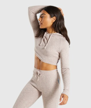 Gymshark Slounge Cropped Hoodie - Taupe Marl 4