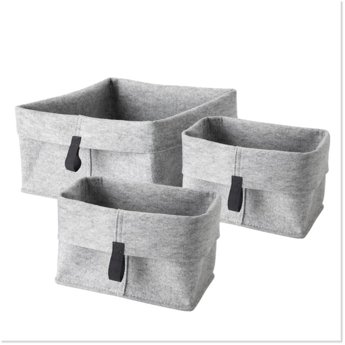 Folding Felt Storage Baskets (Set of 3) - Boottique