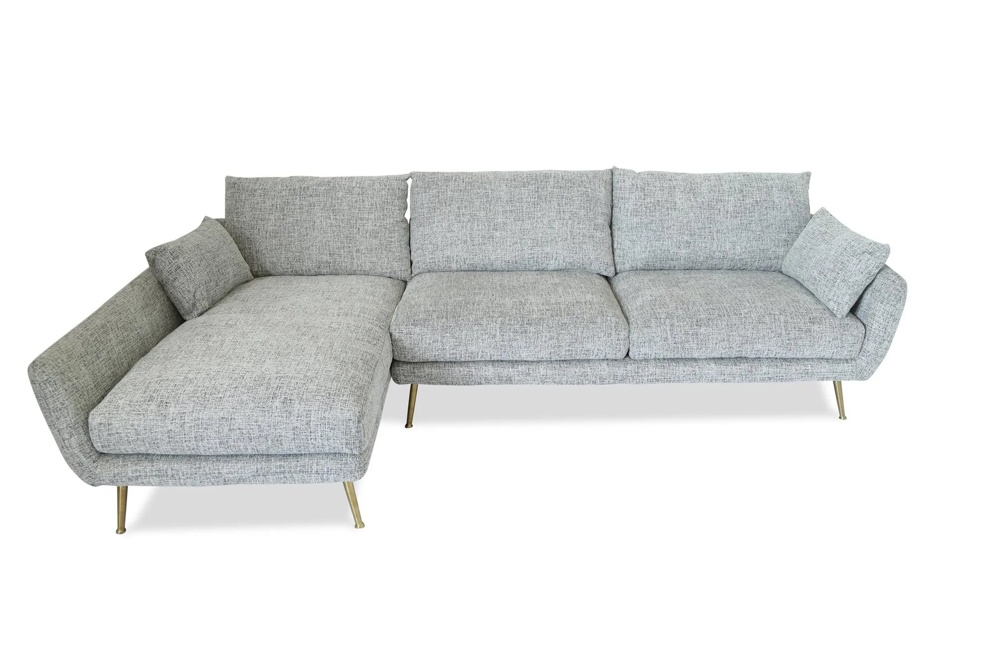 Harlow Mid Century Modern Sectional Sofa Fulton Grey Left Facing