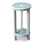 Buy Butler Furniture But 3207070 Amanda Traditional Round Bone Inlay Accent Table Blue At Contemporary Furniture Warehouse
