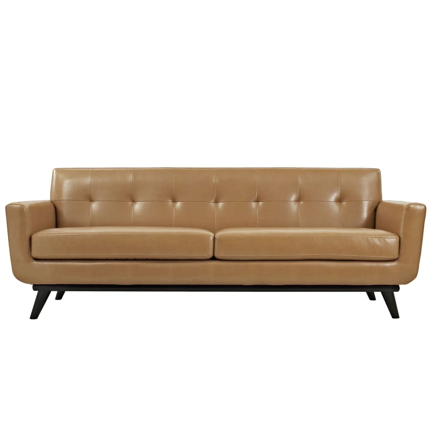 Modway Sofas On Sale Eei 1338 Tan Engage Mid Century Modern Bonded Leather Sofa Only Only 1 062 80 At Contemporary Furniture Warehouse