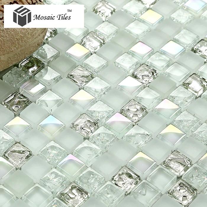 tst crystal glass mosaic tile aqua white iridescent silver diamond waterdrops inner crackle design