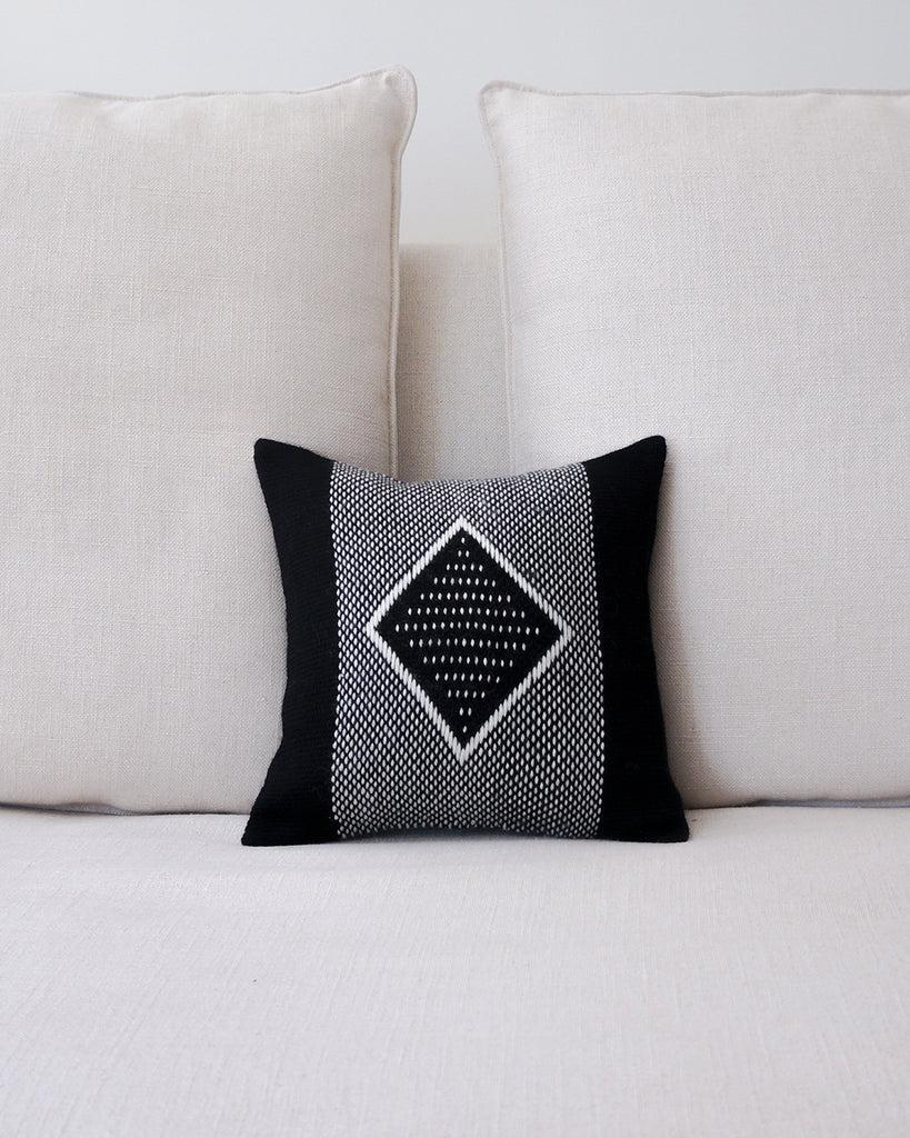 diamante square textile small pillow in black