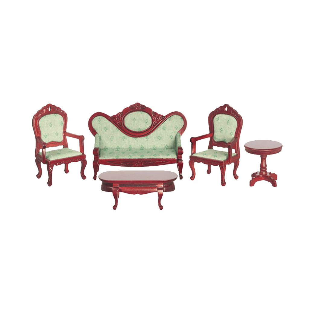 1 Inch Scale Victorian Dollhouse Living Room Set In Mahogany Light Green