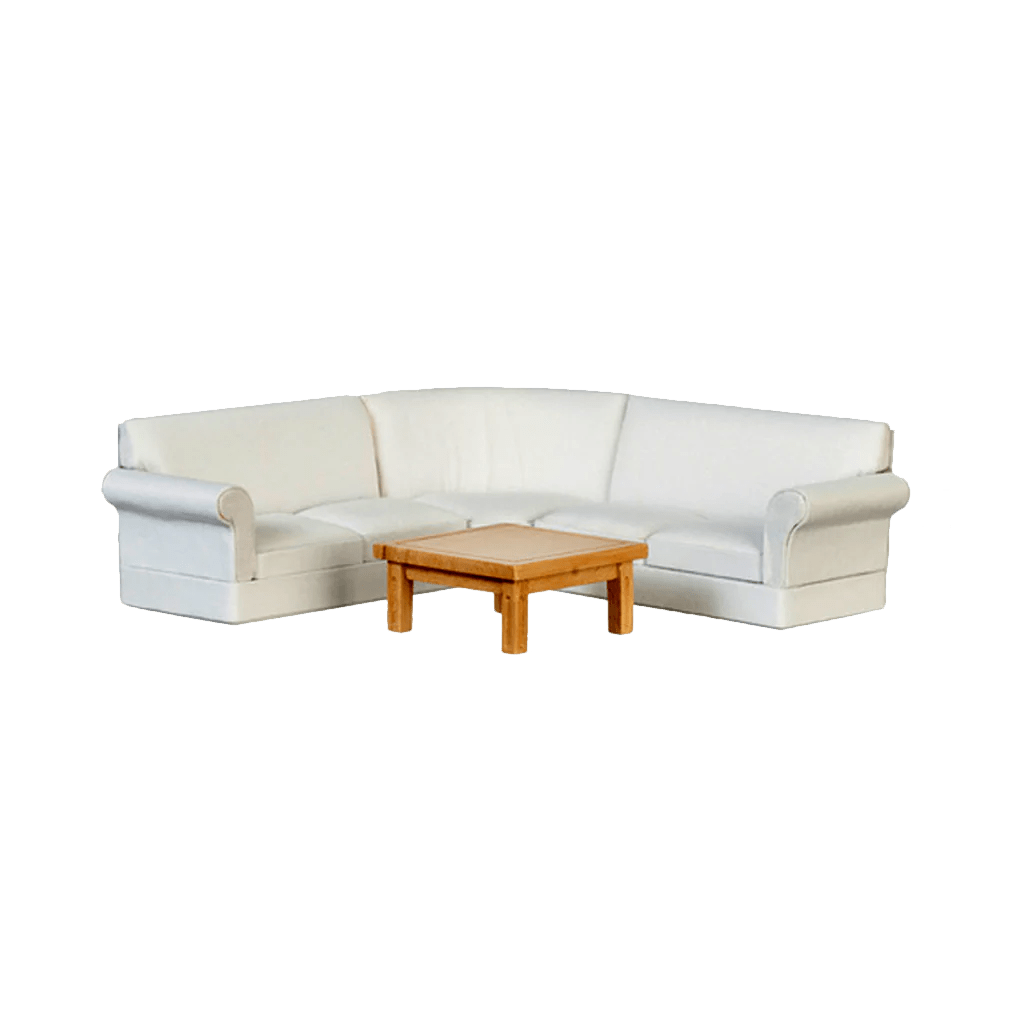 1 inch scale dollhouse sectional sofa living room set white linen