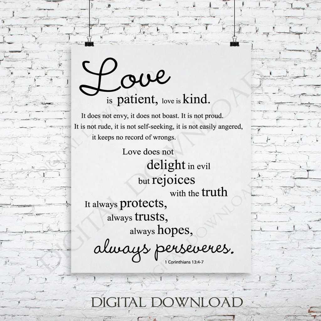 Download Love is patient Corinthians 13:4-7 Digital Design Download ...