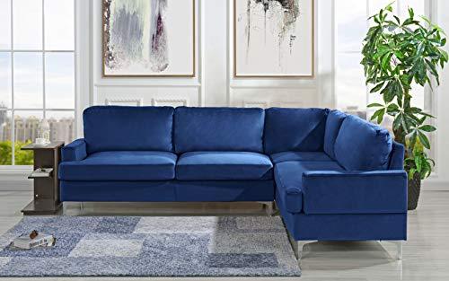 velvet sectional sofa l shape couch navy