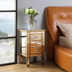3 Drawer Mirrored End Table Mirrored Nightstand Glass Bedside Table Ek Chic Home