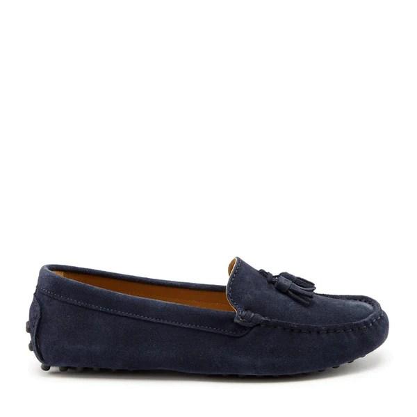 Women's Tasselled Driving Loafers, navy blue suede - Hugs ...