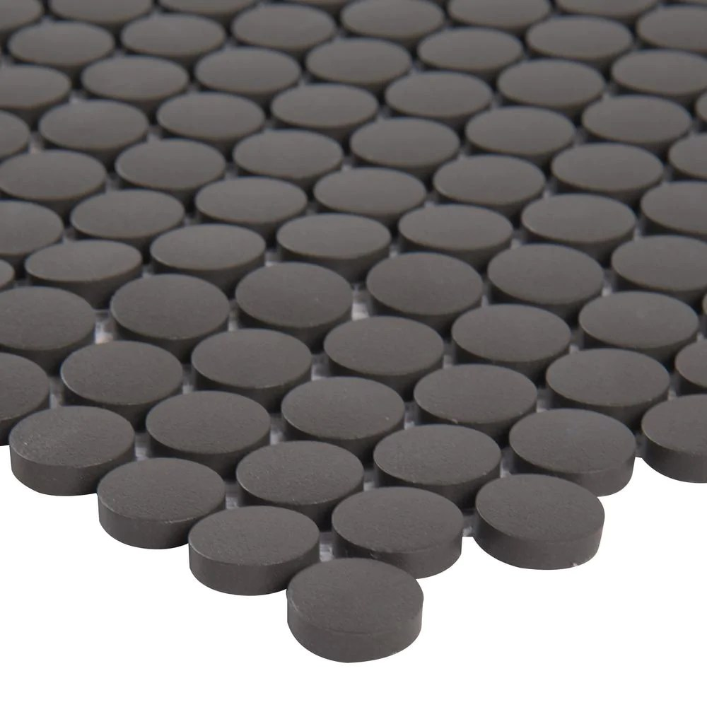 msi penny round nero 11 3 in x 12 2 in x 6mm porcelain mesh mounted mosaic tile free shipping