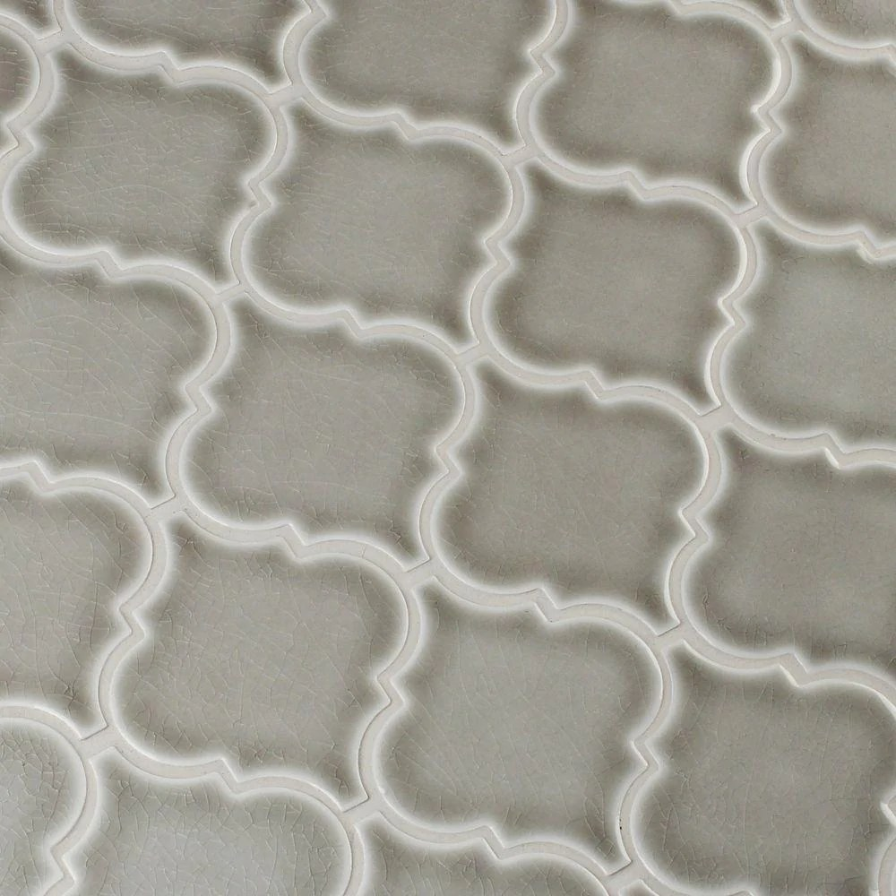 ms international dove gray arabesque 10 1 2 in x 15 1 2 in x 8 mm glazed ceramic mesh mounted mosaic wall tile box of 10 sheets free shipping