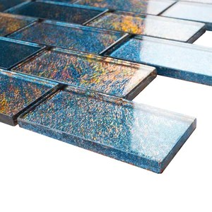 2x4 glossy glitter blue and red sky subway glass mosaic tiles for bathroom and kitchen walls kitchen backsplashes by vogue tile free shipping