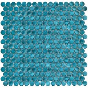 aqua blue penny round glass mosaic tile box of 10 sqft for bathroom and kitchen walls kitchen backsplashes free shipping