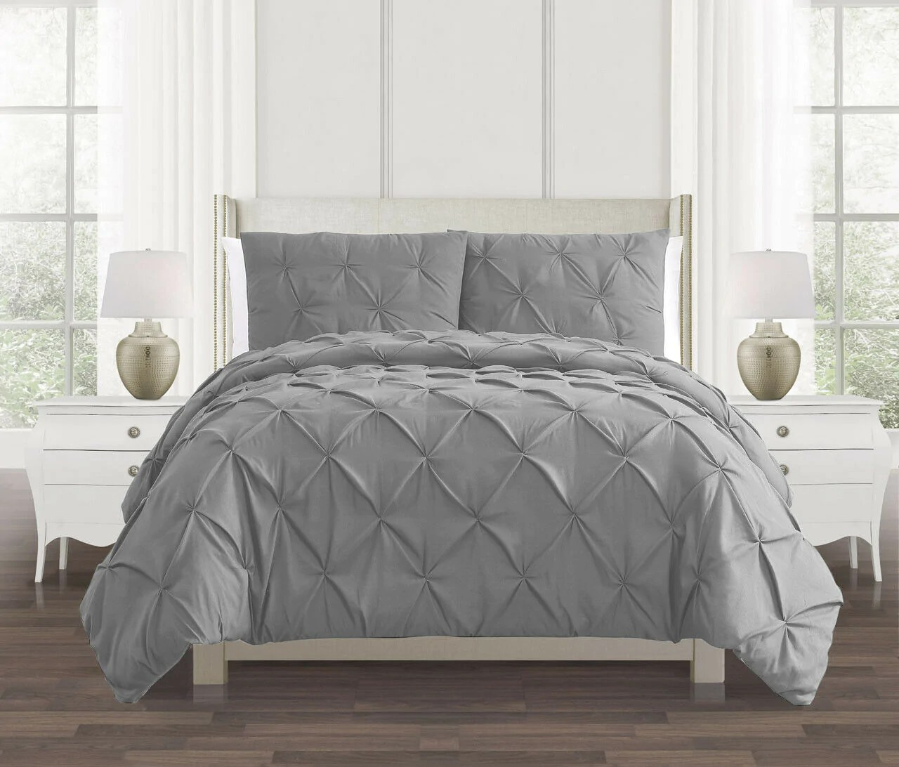 silver grey pin tuck duvet cover 100 cotton covers bedding set double king super king bed size