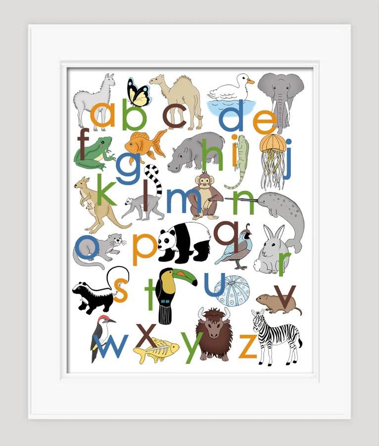 Image of: Hand Drawn Animal Alphabet Poster Alley Kids Animal Alphabet Poster Alley Kids Childrens Nursery Art