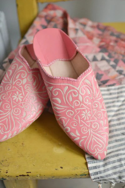 Ladies Moroccan Leather Slippers Coral Decorators Notebook